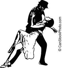 illustration, koppla dansande, latino, abstrakt