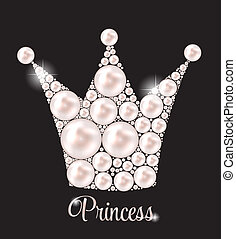 illustration., korona, perła, wektor, tło, księżna