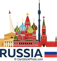 illustration., kremlin., viaje, vector, skyline., rusia,...