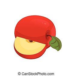 illustration., kromki, apple:, fruit., gotowanie, pół, wektor, schwytany, całość, czerwony
