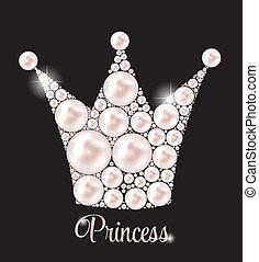 illustration., krone, perle, vektor, hintergrund, prinzessin