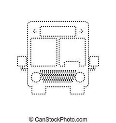 illustration., kropkowany, isolated., autobus, znak, tło., czarnoskóry, vector., biały, ikona
