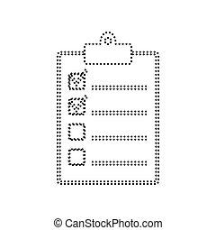 illustration., kropkowany, isolated., checklist, znak, tło., czarnoskóry, vector., biały, ikona