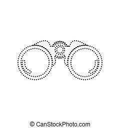 illustration., kropkowany, isolated., obuoczny, znak, tło., czarnoskóry, vector., biały, ikona