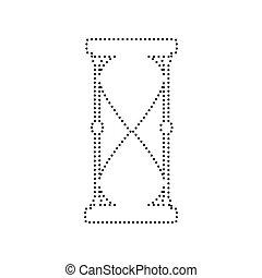illustration., kropkowany, isolated., znak, tło., czarnoskóry, vector., biały, klepsydra, ikona