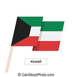 illustration., kuwait, aislado, bandera ondeante, vector, white., cinta
