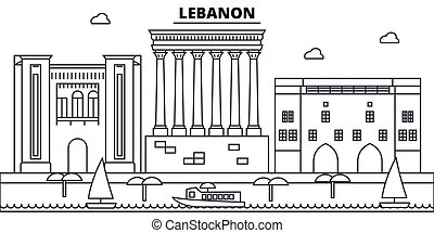 illustration., líbano, strokes., editable, silueta, diseño, landmarks., urbano, línea, edificios, vector, contorno, plano, paisaje, concepto, contorno, arquitectura