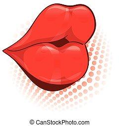 illustration., labbra, vettore, femmina, sexy, rosso