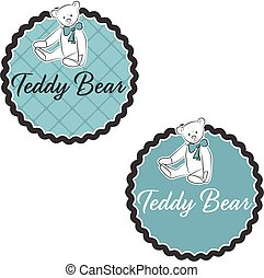 Illustration label of Teddy Bear with bow