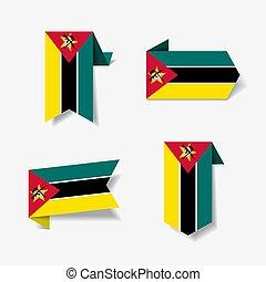 illustration., labels., bandera, vector, mozambique,...