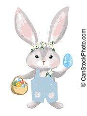 illustration, lapin, jean, panier, salopette, eggs., vecteur, isolé, lapin, white., paques