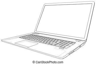 illustration., laptop., イラスト, ベクトル, computer., 3d., アウトライン