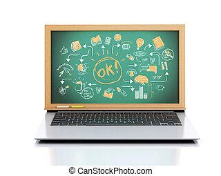 illustration., laptop, chalkboard, háttér, fehér, 3