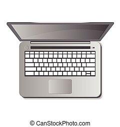 illustration., laptop, freigestellt, hintergrund., vektor, weißes