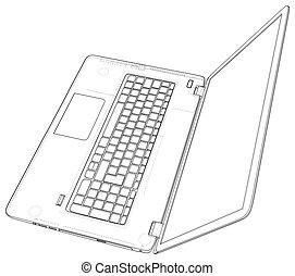 illustration., laptop., ilustração, vetorial, computer., 3d., esboço