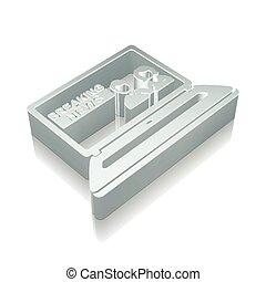 illustration., laptop, törő, icon:, fémből való, vektor, hír, visszaverődés, 3