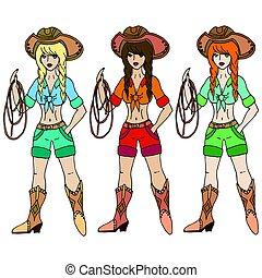 illustration., lasso., cowgirl, ragazze, isolato, tre, vettore