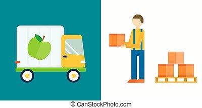 illustration., lastbil, vektor, eksporter, frugter, import