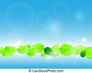 illustration., leaves., וקטור, רקע ירוק, טרי