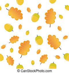 Illustration  leaves oak, acorn