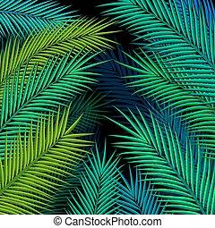 illustration., leaves., tropicale, vettore, palma, fondo