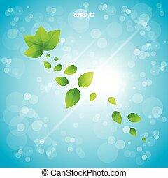 illustration., leaves., vettore, sfondo verde, fresco