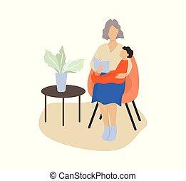 illustration, lecture, elle, vecteur, grand-mère, petit-fils, livre