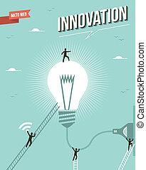illustration., lekki, idea, innowacja, bulwa, workgroup