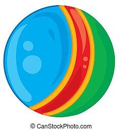 illustration, leksak, objekt, vit fond, isolerat, vektor, blå kula