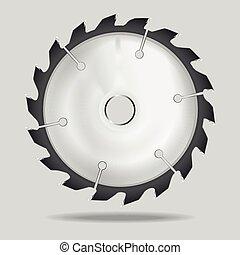 illustration., lemmet, realistisch, vector, zaag, circulaire