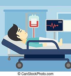 illustration., letto ospedale, vettore, dire bugie, uomo