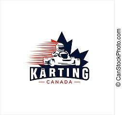 illustration., levél növényen, kanada, tervezés, karting, juharfa, sport, kanadai, vektor, jel
