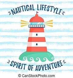 illustration., lighthouse., しまのある, ベクトル, 背景