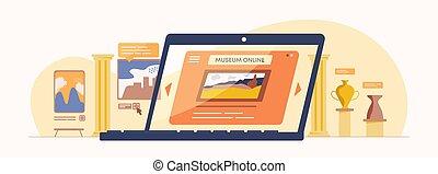 illustration., ligne, antiquité, examen, musée, numérique, application, culturel, exposition, toile, exposition., historique