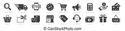 illustration, ligne, paiement, ensemble, achats, éléments, vecteur, icônes