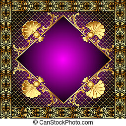 lilac frame with vegetable and gold(en) pattern