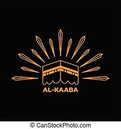 illustration line art design of kaaba in saudi arabia, islamic prayer or hajj symbol.