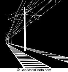illustration., lines., contato, vetorial, despesas gerais, ferrovia, wire.