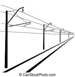 illustration., lines., kontakt, vektor, oben, eisenbahn, ...