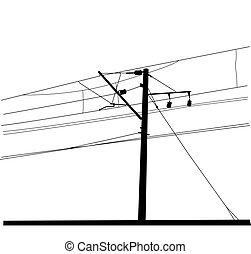 illustration., lines., kontakt, wektor, na górze, popędzać, wire.