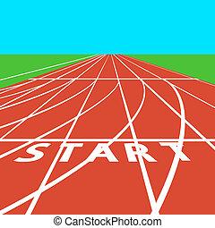 illustration., lines., vetorial, estádio, treadmill, branco vermelho