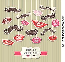illustration., lips., コレクション, ベクトル, 口ひげ, ステッカー