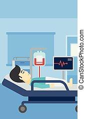 illustration., lit hôpital, vecteur, mensonge, homme