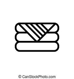 illustration, literie, icône, vecteur, contour, plié