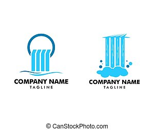 illustration, logo, chute eau, vecteur, icône, ensemble