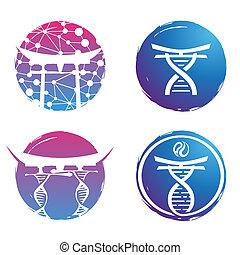 Illustration logo design DNA colorful on white background.