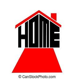 illustration, logo, maison, text., design., vecteur, maison, plat
