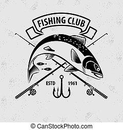 illustration, logo, peche, saumon, écusson, fish