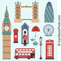 London,United Kingdom Flat Icons - Illustration...