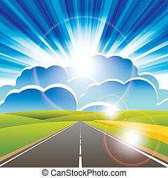 road - illustration, long road for horizon under blue sky